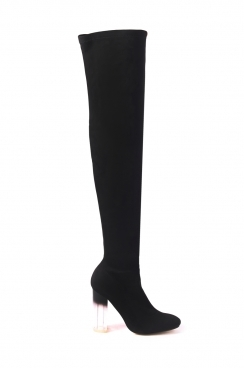 Jena black faux suede tight high boots with smoked perspex block heel