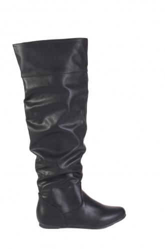 FFOMO Jennet black faux PU knee high boots