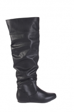 Jennet black faux PU knee high boots