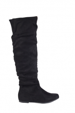 Jennet black faux suede knee high boots.
