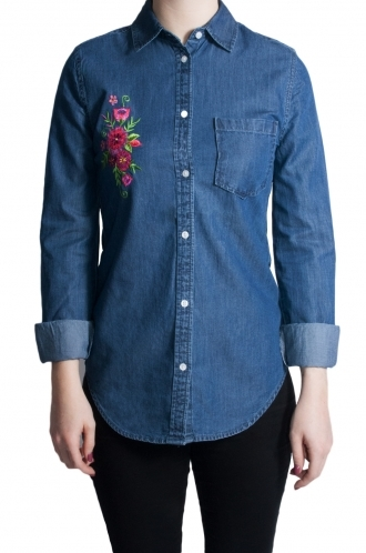 FFOMO Jessica fitted Denim Exclusive Embroidered Shirt