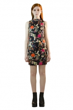 Jessica High Neck Winter Floral Bodycon Dress