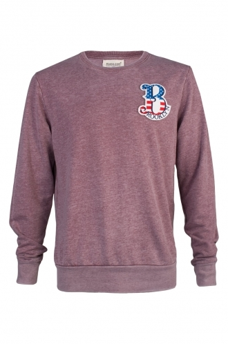 FFOMO Joey Brooklyn Embroidered Patch Faded Burgundy Sweatshirt