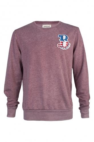 FFOMO Joey Brooklyn Embroidered Patch Faded Burgundy Sweatshirt