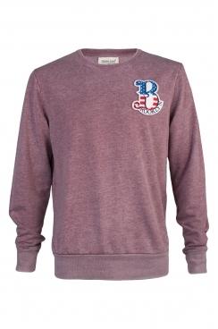 Joey Brooklyn Embroidered Patch Faded Burgundy Sweatshirt