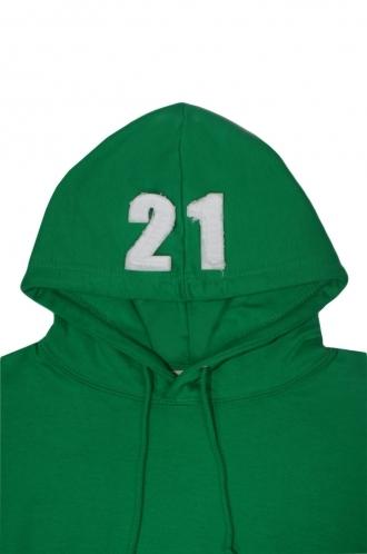 FFOMO John 21 Applique Hood Patch Pullover Green Hoodie