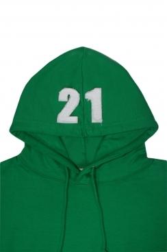 John 21 Applique Hood Patch Pullover Green Hoodie
