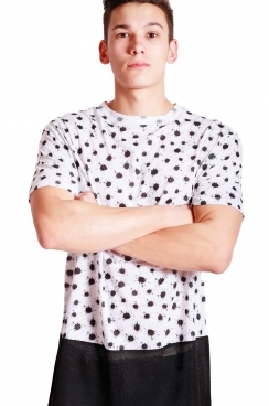Joshua Ink Dot Print long over sized T-shirt With Black  Airtex Hem