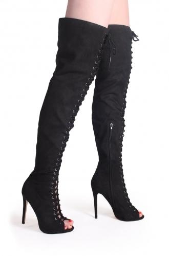 FFOMO Josie Black Over The Knee Peep Toe Boots