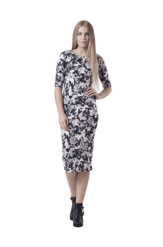 FFOMO Julia Monochrome Floral BodyCon Dress
