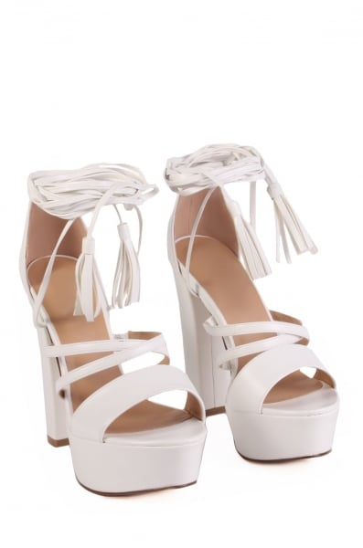 Julia white lace up heels with tassels