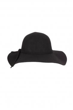 Justine,bow detail, Black floppy wool hat.
