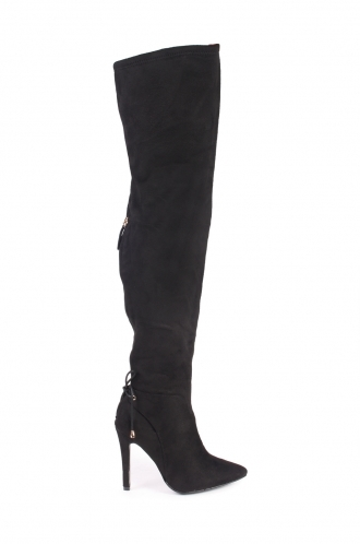 FFOMO Karly Black Faux Suede High Heel Boots