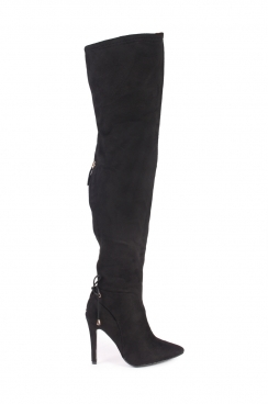 Karly Black Faux Suede High Heel Boots
