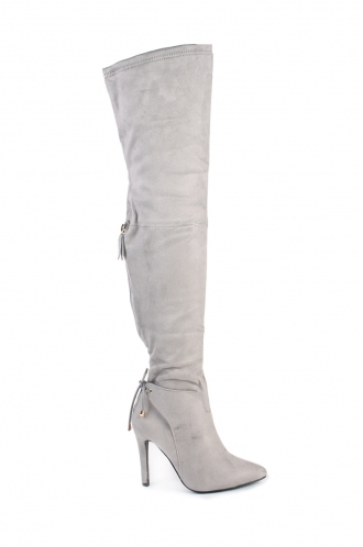 FFOMO Karly Grey Faux Suede High Heel Boots