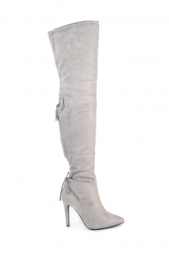 Karly Grey Faux Suede High Heel Boots