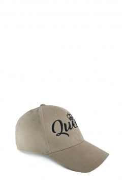 Khaki Womens Queen Embroidered Cap