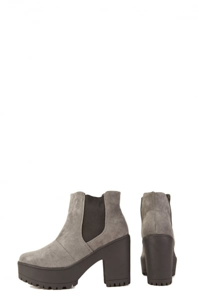Grey suede heeled ankle boots come with added attitude in chunky ...