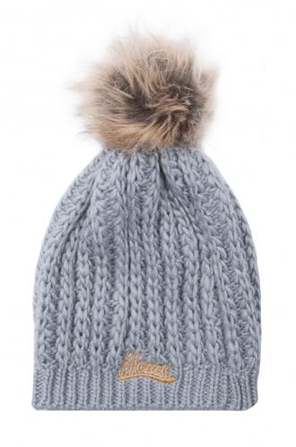 FFOMO Knitted Grey Womens Faux fur pom Beanie