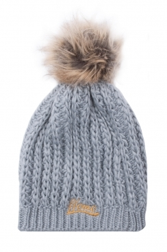 Knitted Grey Womens Faux fur pom Beanie