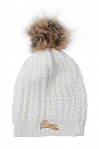 FFOMO Knitted White Womens Faux fur pom Beanie