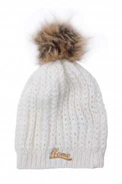 Knitted White Womens Faux fur pom Beanie