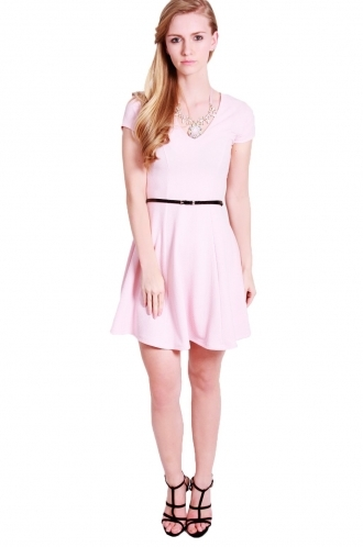 FFOMO Lana deep neck  skater dress with black belt.