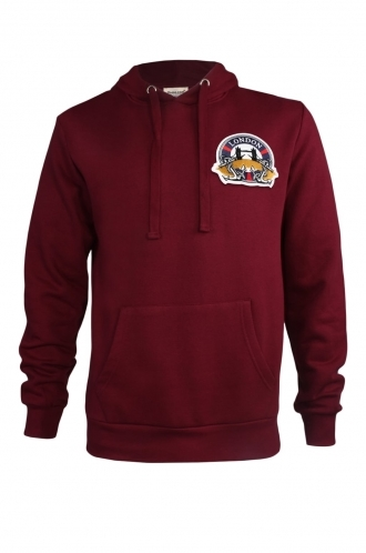 FFOMO Larry London Embroidered Patch Pullover Burgundy Hoodie