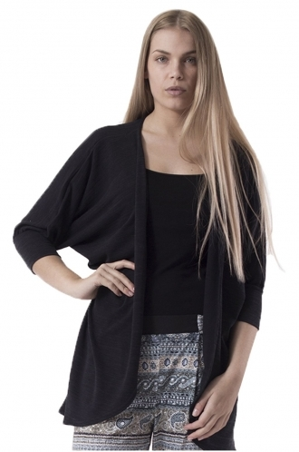 FFOMO Laura Black Draped Cardigan