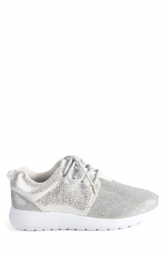Layla Silver mesh lace up trainers