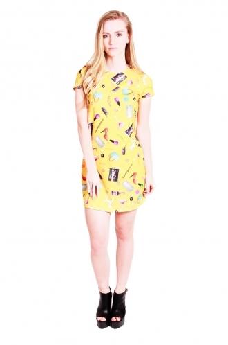 FFOMO lelia shift dress with short sleeves fashion print.
