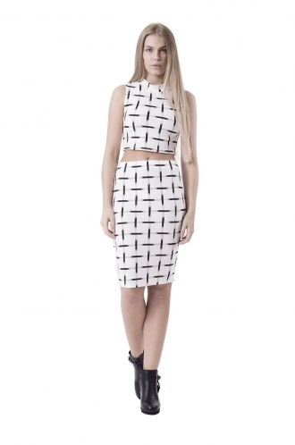 FFOMO Lexy White and Black  Checked Co-ord