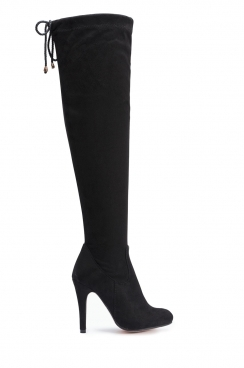Lilly Black Faux Suede Over The Knee Thigh Boots