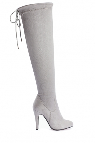FFOMO Lilly Grey Faux Suede Over The Knee Thigh Boots
