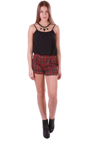 FFOMO Lily Tartan Black Playsuit