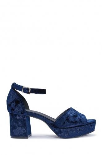FFOMO Linn navy synthetic crashed velvet blocked heels