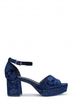 Linn navy synthetic crashed velvet blocked heels