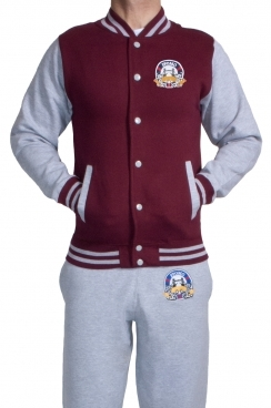 London Embroidered Contrast Baseball Men's Burgundy Jacket