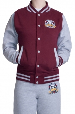 London Embroidered Contrast Baseball Women's Burgundy Jacket