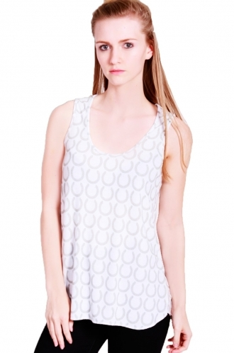 FFOMO Lou long oversized vest with horse shoe with daisy print.
