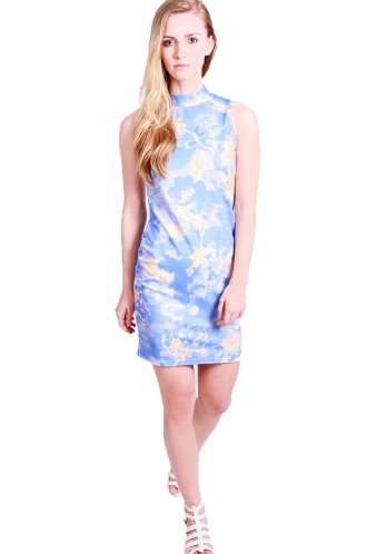 FFOMO Louise Bodycon-sleeveless-turtle neck-floral print.