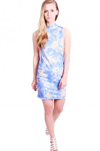 FFOMO Louise Bodycon-sleeveless-turtle neck-floral print.