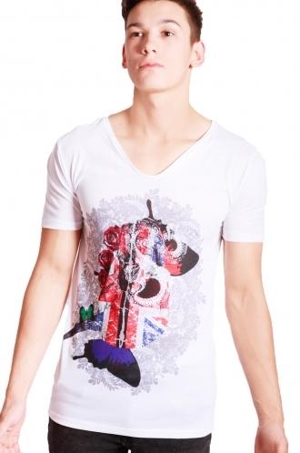 FFOMO Lucas College Print Slim Fit with Deep V Neckline T-shirt