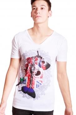 Lucas College Print Slim Fit with Deep V Neckline T-shirt