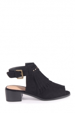 Luna black open toe booties with fringe