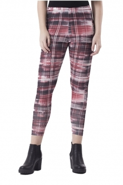 Macy Red Watercolour Check Leggings