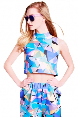 FFOMO Maria geo-metric triangle print crop top turtle neck