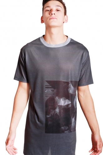 FFOMO Max Geometric print long over sized T-shirt with Grey Bounded Neckline