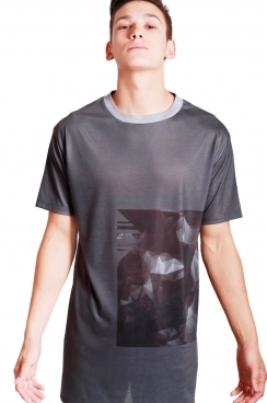 Max Geometric print long over sized  T-shirt with Grey Bounded Neckline