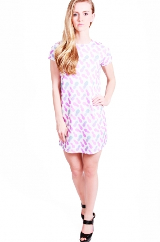FFOMO Maya shift dress with pineapple repeat print.